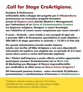 Call for Stage CreArtigiano